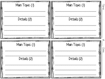 Main Topic and Details Activity and Assessment