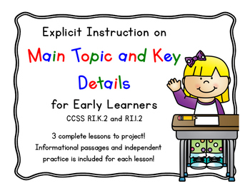 Main Topic and Key Details (3 EDI Style Lessons)
