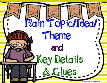 Main Topic/Idea & Key Details Graphic Organizers, Anchor Chart Sign, & Foldable