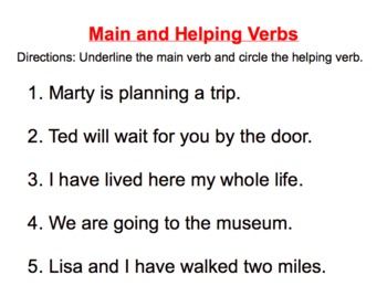Main Verb and Helping Verb Lesson and Practice