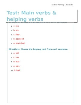 Main and Helping Verbs Answer Key