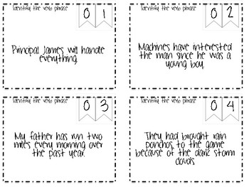 Main and Helping Verbs Scoot Task Cards