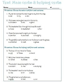 Main and Helping Verbs Test
