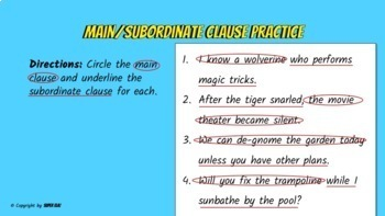 Main and Subordinate Clause Notes - PowerPoint