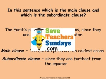 Main and Subordinate clauses PowerPoint and Worksheets (2 levels of difficulty)
