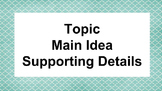 Main idea -  Graphic Organizer & Mentor Texts