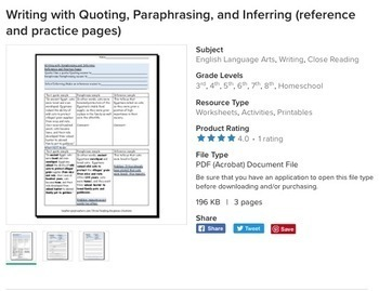 Main idea,Quoting,Paraphrasing, & Inferring: Skills Bundle for Reading & Writing