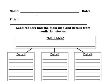 Main idea and Detail Chart