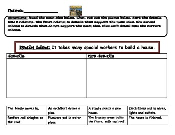 Main idea and details for the informational text Building a House