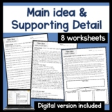 Main idea and supporting detail worksheets- Printable or D