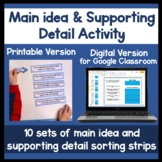 Finding the main idea activity