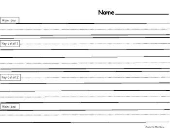 Main idea writing template