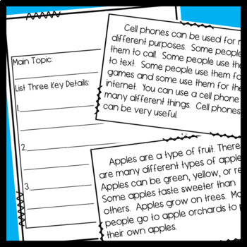 Main topic and Key Details Passages/ Shared Reading