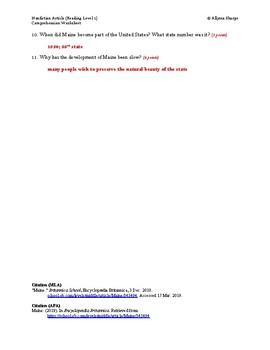 Maine Article (Reading Level 1) Comprehension Worksheet