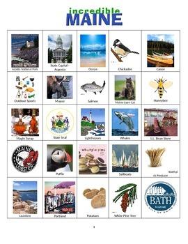 Maine Bingo:  State Symbols and Popular Sites