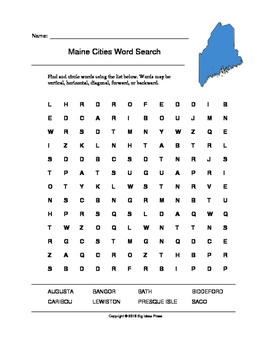 Maine Cities Word Search (Grades 3-5)
