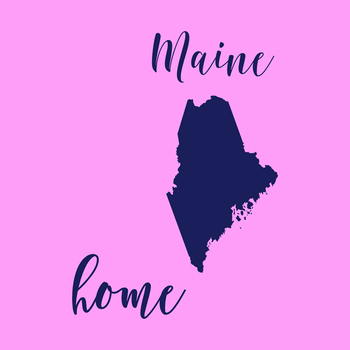 Maine Clipart, USA State Vector Clipart, Maine Home, Gold US Clipart
