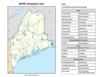 Maine Geography Quiz