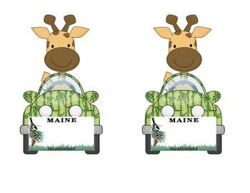 Maine Giraffe in a car: Name plate for desktag for jungle or safari theme!
