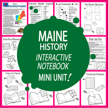 Maine State History–Interactive Notebook Maine State Study Unit + AUDIO!