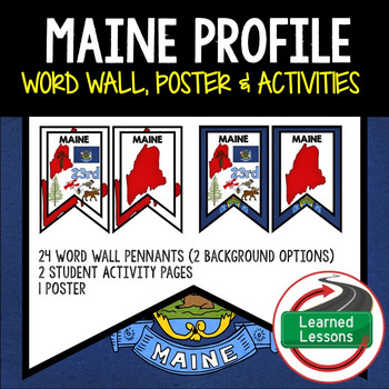 Maine History Word Wall, State Profile, Activity Pages