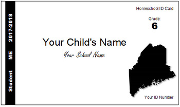 Maine (ME) Homeschool ID Cards for Teachers and Students