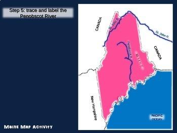 Maine Map Activity- fun, engaging, follow-along 20-slide PPT