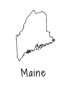 Maine Map Coloring Page Craft - Lots of Room for Note-Taki
