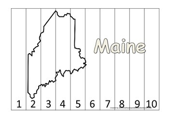 Maine Number Sequence Puzzle.  Learn the States preschool printable game.