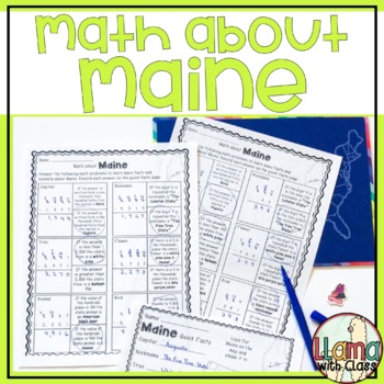 Math about Maine State Symbols through Subtraction Practice