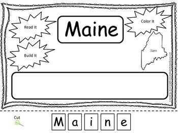 Maine Read it, Build it, Color it Learn the States preschool worksheet.