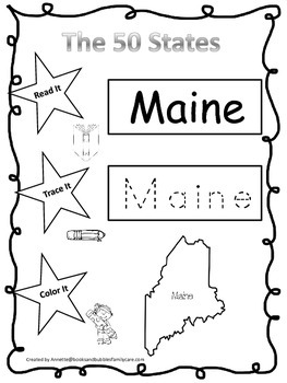 Maine Read it, Trace it, Color it Learn the States preschool worksheeet.