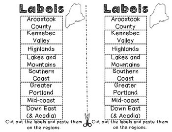 Maine Regions: A cut and paste activity