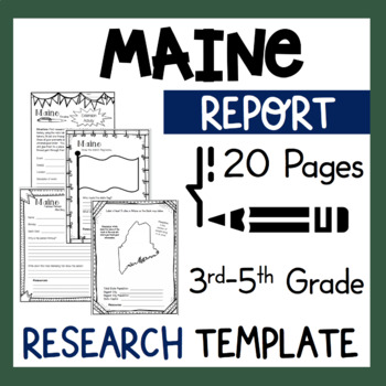 Maine State Research Report Project Template with bonus timeline Craftivity ME