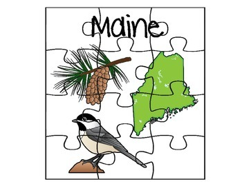 Maine State Facts Puzzle Set