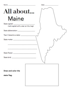 Maine State Facts Worksheet: Elementary Version