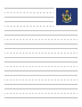 Maine State Flag Primary Lined Paper