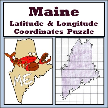 Maine State Latitude and Longitude Coordinates Puzzle - 46 Points to Plot