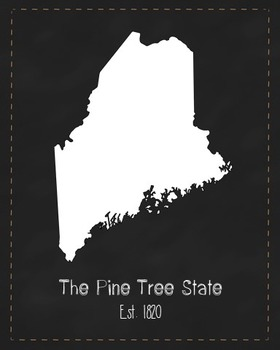 Maine State Map Class Decor, Government, Geography, Black and White Design