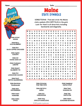 Maine State Symbols Word Search Puzzle