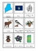Maine State Symbols themed 3 Part Matching Game.  Printable Preschool Game