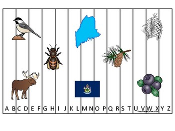 Maine State Symbols themed Alphabet Sequence Puzzle Game.  Preschool Game