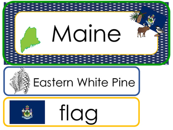 Maine State Word Wall Bulletin Board Set. Geography Curriculum.