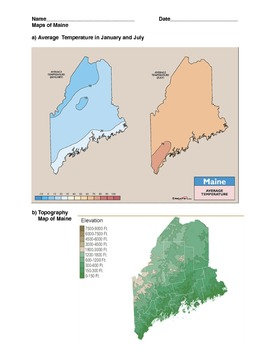 Maine Topography Worksheet