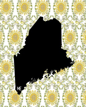 Maine Vintage State Map or Poster Class Decor, Classroom Decoration
