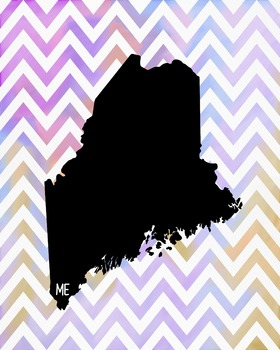 FREEBIE! Maine Chevron State Map Class Decor, Government, Geography
