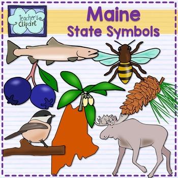 Maine state symbols clipart