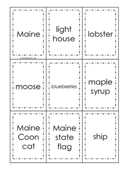 Maine themed Memory Matching and Word Matching preschool curriculum game.
