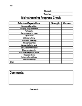 Mainstreaming Checklist