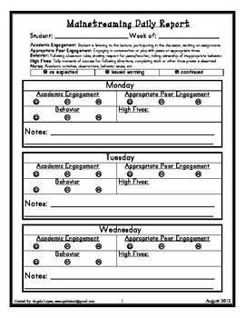Mainstreaming Daily Report (engagement/academics/behavior)